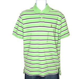 Polo Ralph Lauren Neon Green/Purple Striped Polo